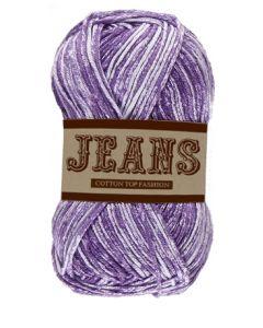 Pelote 50 g Jeans 100% coton coloris jeans violet 04