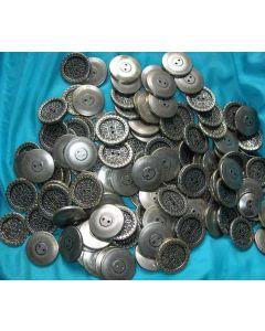 destockage - lot de 100 boutons en métal argenté 30 mm