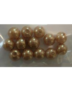12 perles synthétiques 6 mm coloris marron