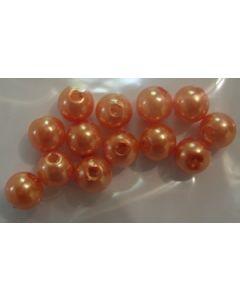 12 perles synthétiques 6 mm coloris orange