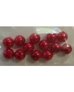 12 perles synthétiques 6 mm coloris rouge
