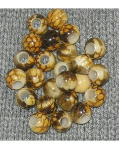 24 perles circulaires 12 x 10 mm - trou 5 mm - nuances de marron