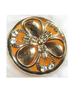 bouton bijou knopf polyester et strass 38 mm fond orange