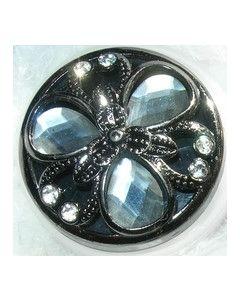 bouton bijou knopf polyester et strass 38 mm fond noir
