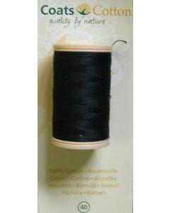 bobine 100 m de fil à coudre coton coloris noir n°40