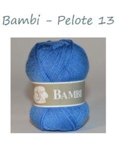 Pelote de 50 g Bambi de TDLM coloris bleu 13
