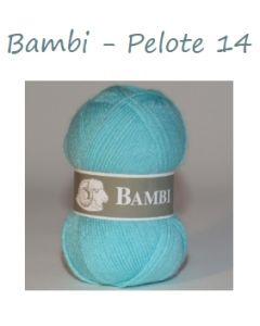 Pelote de 50 g Bambi de TDLM coloris bleu 14