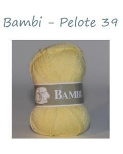Pelote de 50 g Bambi de TDLM coloris jaune 39