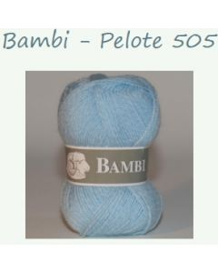 Pelote de 50 g Bambi de TDLM coloris chiné bleu clair et blanc 505