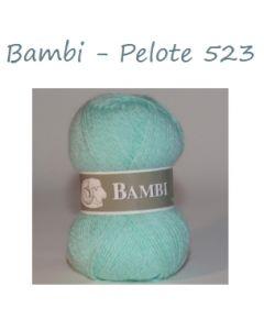 Pelote de 50 g Bambi de TDLM coloris chiné vert clair et blanc 523