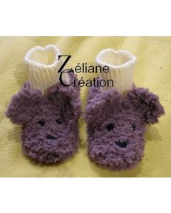 kit tricot paire de chaussons layette ours brun 3/6 mois