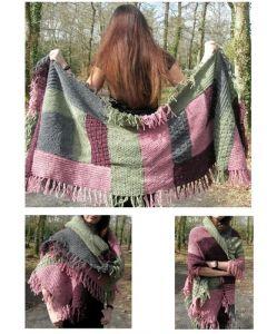 kit tricot grande écharpe patchwork Canada 2 m x 60 cm