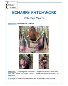 fiche tricot écharpe patchwork