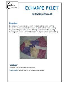 Fiche crochet écharpe filet crazy colors