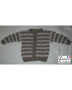 kit tricot Gilet enfant en Irlandaise point fantaisie rayé