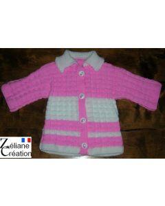 kit tricot veste layette en bambi point fantaisie 012018 naissance à 2 ans