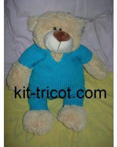 kit tricot nounours n°1 - pull et pantalon turquoise