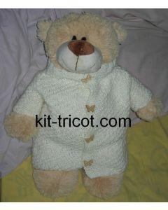 kit tricot nounours n°4 - manteau Angelique col montant