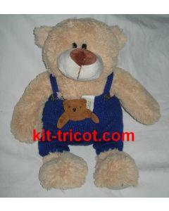 kit tricot nounours n°6 - pantalon à bretelles avec poche kangourou