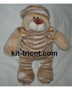 kit tricot nounours n°7 - combinaison + bonnet + chaussons