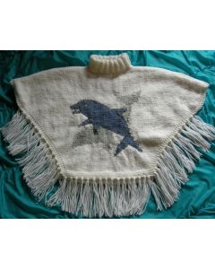 kit tricot PONCHO DAUPHINS taille 4 ans à 12/14 ans