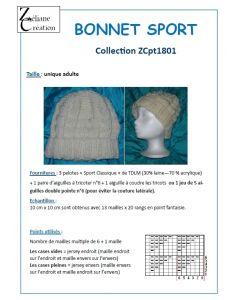 Fiche tricot Bonnet Sport Classique taille adulte
