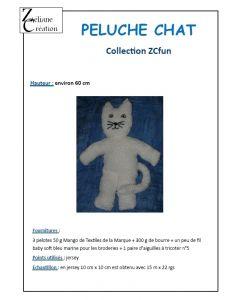 Fiche tricot peluche chat environ 60 cm