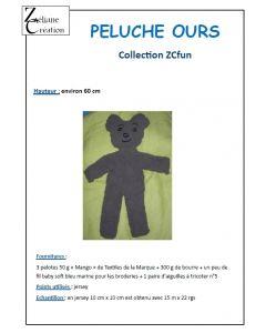 Fiche tricot de la peluche ours brun 60 cm