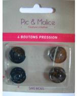 4 boutons pressions métal sans nickel 15 mm coloris noir