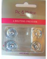4 boutons pressions métal sans nickel 15 mm coloris argent